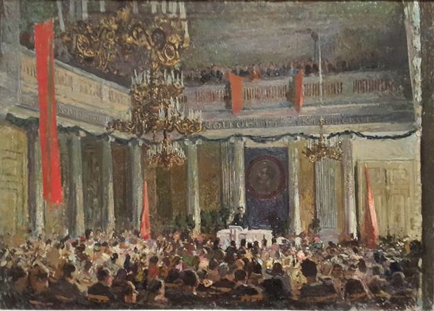 """Elmar Kits, """"May 1st Assembly in the Tartu Statu University Auditorium"""" (1945), oil on canvas (photo by the author for Hyperallergic)"""