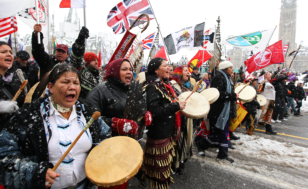#IdleNoMore protest on Parliament Hill, Ottawa, 2012 (Photo by Andre Forget, QMI Agency, reproduced with permission from publisher)