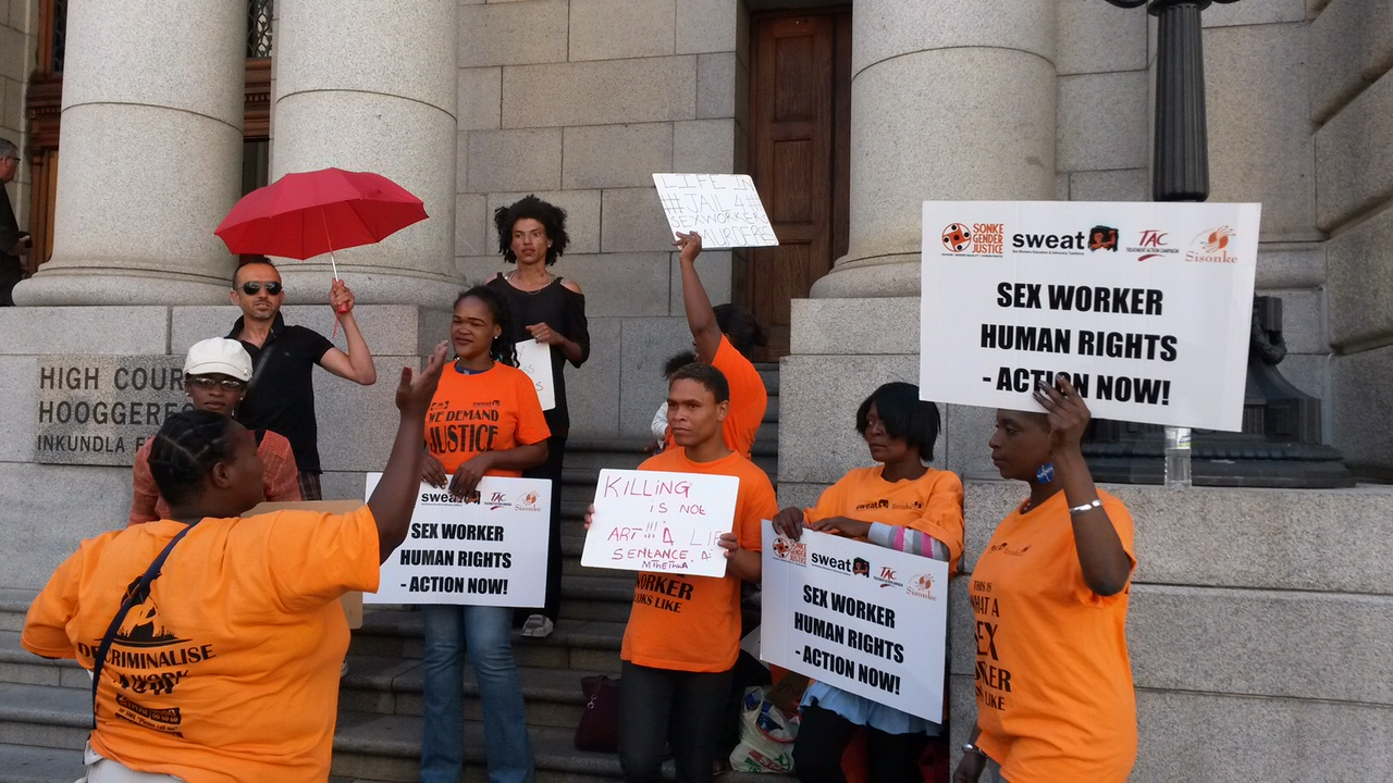 SWEAT protesters outside of Zwelthu Mthethwa trial at the Western Cape High Court (photo courtesy of SWEAT)