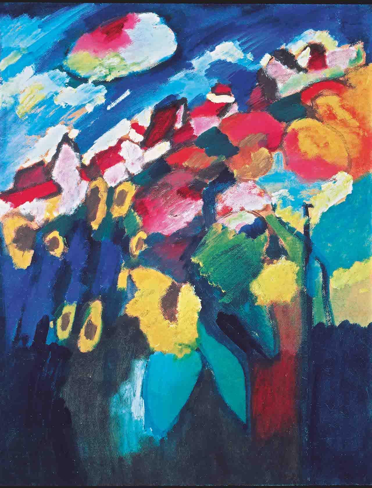 Wassily Kandinsky, Murnau The Garden II, 1910 Oil on cardboard, 67 x 51 cm Merzbacher Kunststiftung Photo (c) Merzbacher Kunststiftung