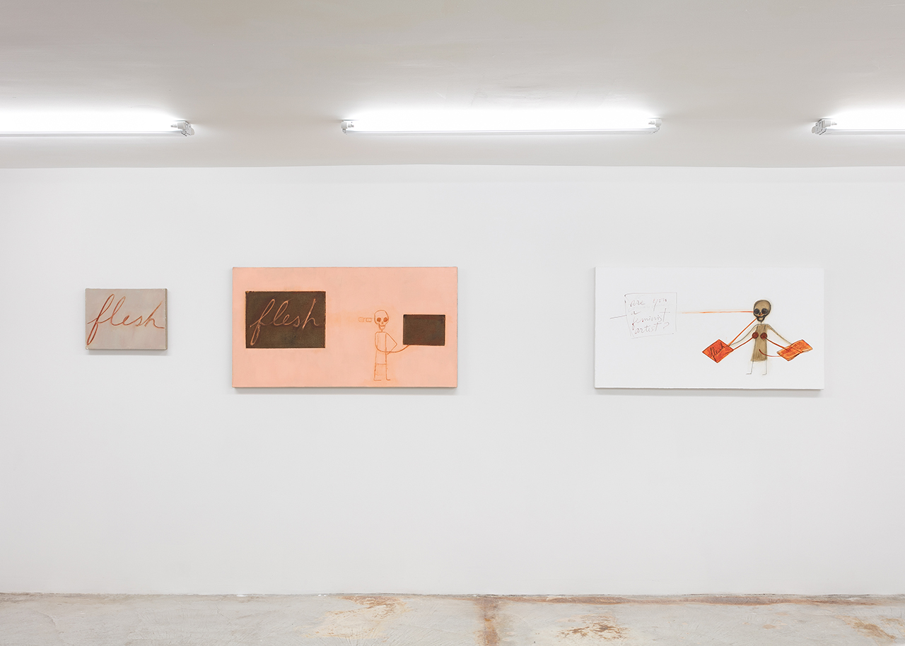 """Mira Schor, left to right: """"Flesh"""" (2015), oil on linen, 12 x 16 inches; """"Flesh"""" (2015), oil on linen, 24 x 45 inches; """"Interview: Are You A Feminist Artist?"""" (2015), ink, acrylic, oil on gesso on canvas, 24 x 45 inches (click to enlarge)"""
