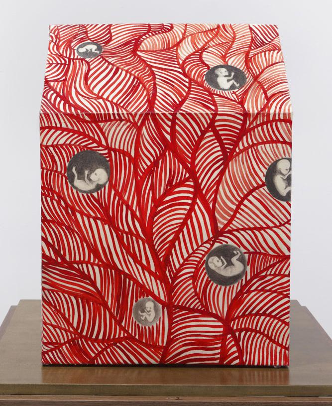 """Sandra Vásquez de la Horra, """"El Sueño del Àrbol Rojo (The Dream of the Red Tree)"""" (2016), graphite and watercolor on paper, wax, 22 x 14 1/4 x 14 1/4 inches"""