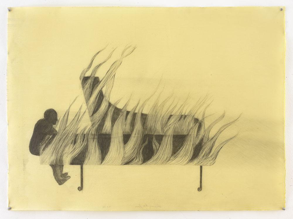 "Sandra Vásquez de la Horra, ""Momento Efímero (Fleeting Moment)"" (2016), graphite on paper, wax, 30 3/4 x 42 1/4 inches (all images © Sandra Vásquez de la Horra and courtesy David Nolan Gallery, New York)"