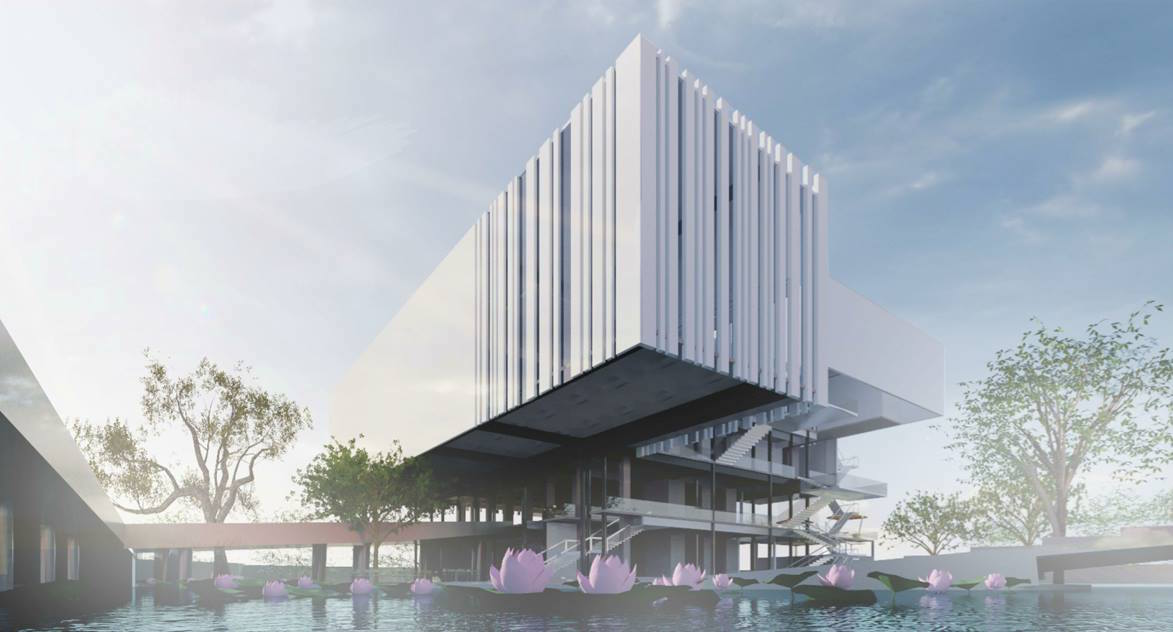 A rendering of the proposed Museum of Art and Photography (design by Mathew and Ghosh, via Facebook)