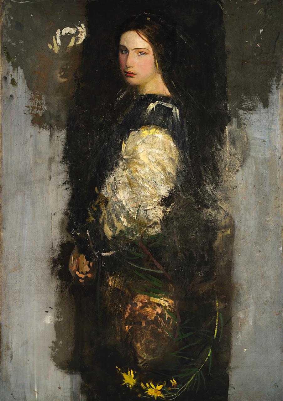 "Abbott Handerson Thayer, ""Study of Alma Wollerman (Mrs. Gerald Thayer)"" (1915), oil on canvas (courtesy Jean Reasoner Plunket Trust)"