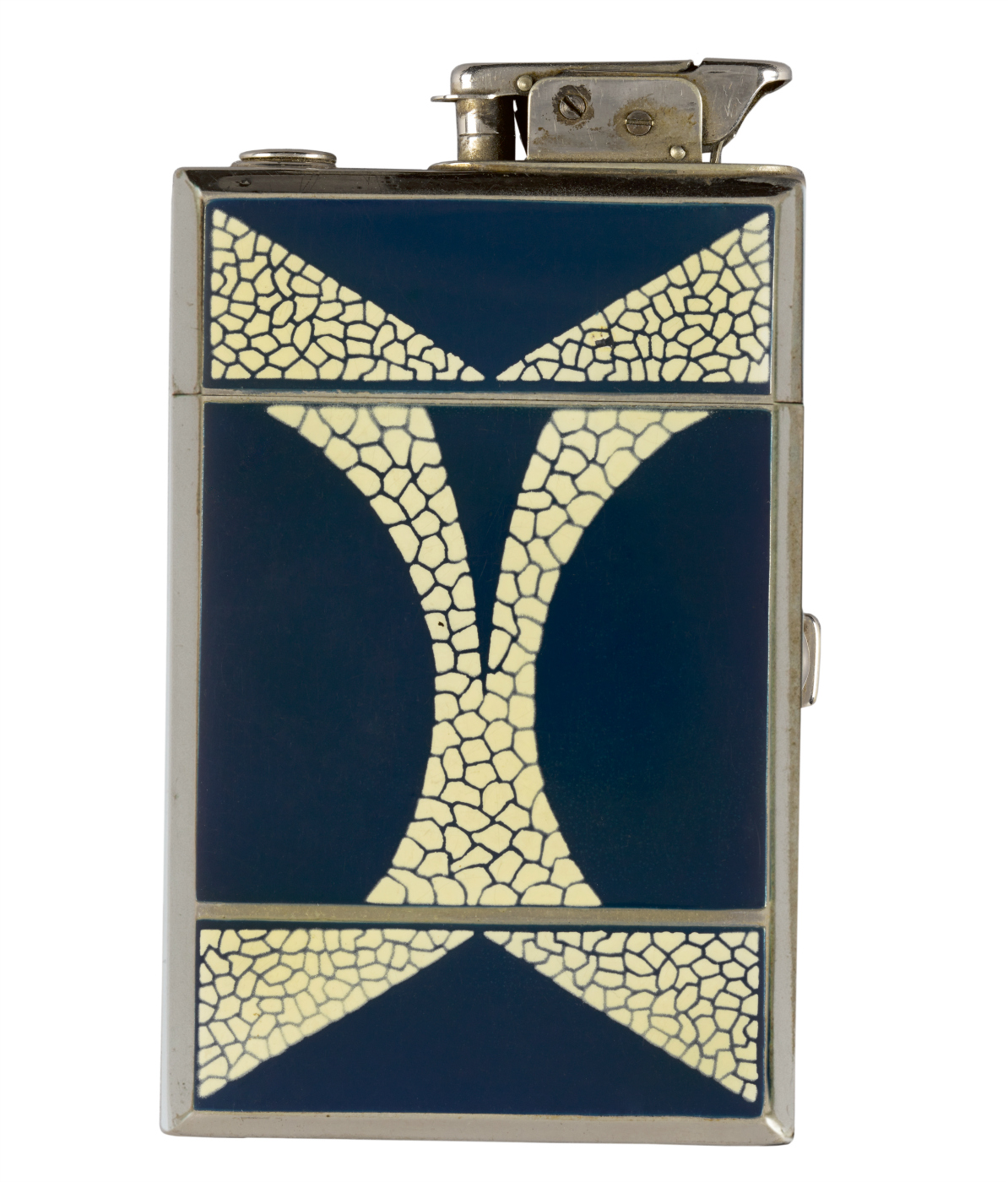 Golden Wheels combination lighter and cigarette case (United States, 1932), produced by Henry Lederer, Providence, Rhode Island (© Rodney and Diana Capstick-Dale)