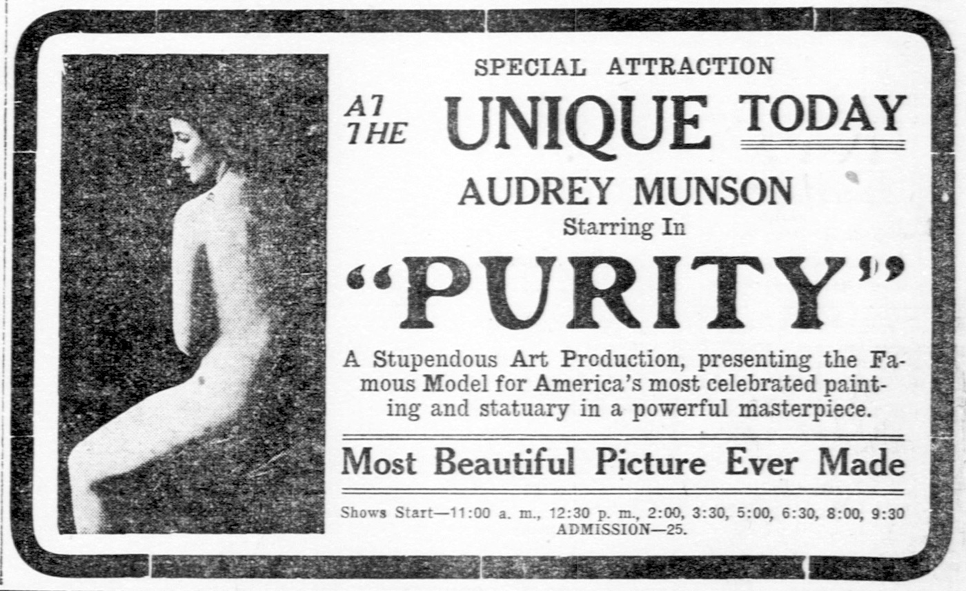 A 1916 newspaper advertisement for the film 'Purity' starring Audrey Munson (via Library of Congress/Wikimedia)