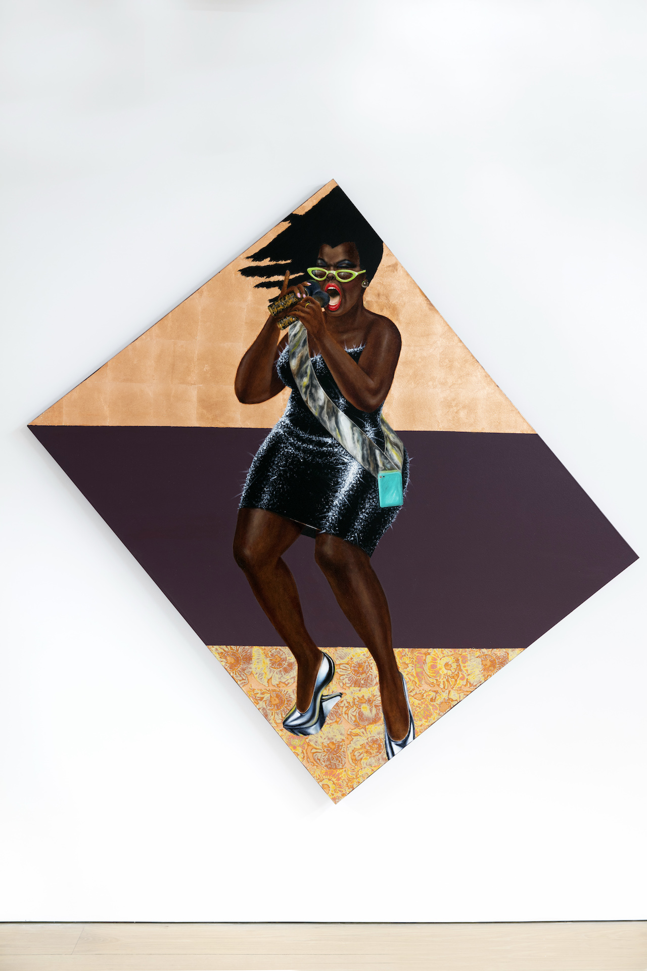 """Barkley L. Hendricks, """"Anthem"""" (2015), mixed media including copper leaf, combination leaf, oil, and acrylic on canvas, 75 x 77 in (©Barkley L. Hendricks, courtesy of the artist and Jack Shainman Gallery, New York)"""
