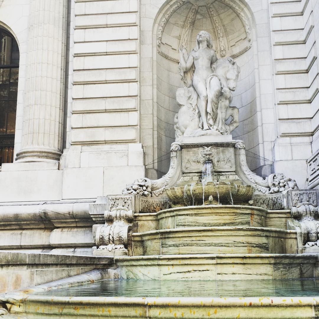 """Beauty"" sculpture by Frederick MacMonnies, partly based on Audrey Munson, on a fountain outside the New York Public Library on Fifth Avenue"
