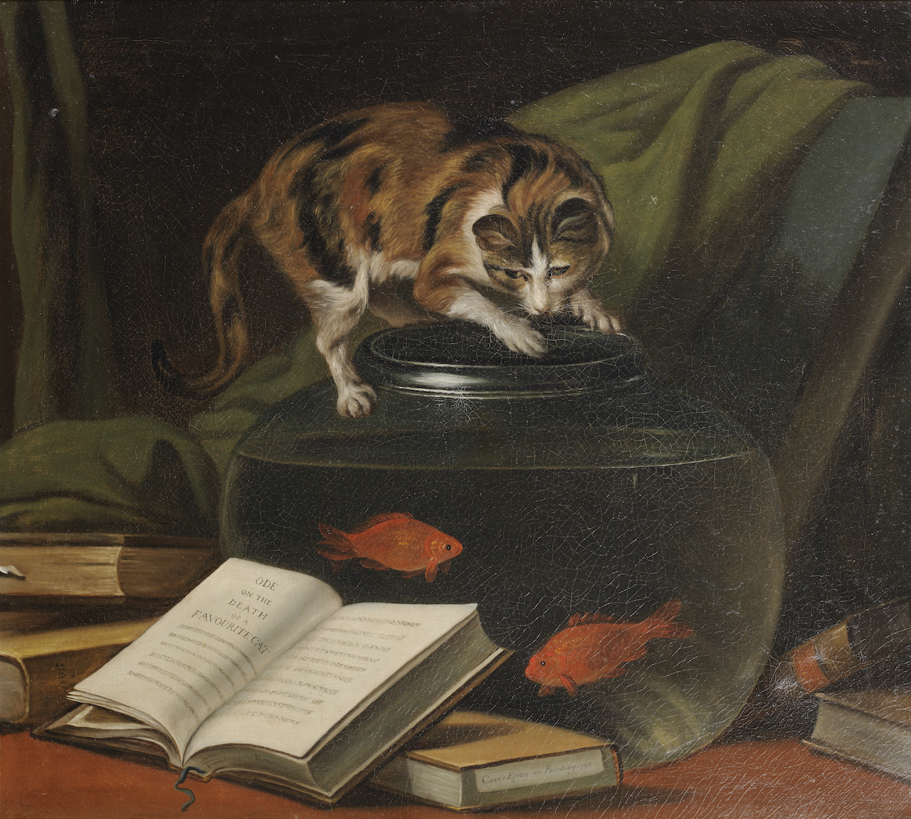 """Attributed to Martin Ferdinand Quadal, """"Ode on the Death of a Favourite Cat Drowned in a Tub of Goldfishes"""" (1736-1811), oil on canvas (courtesy Bonhams)"""