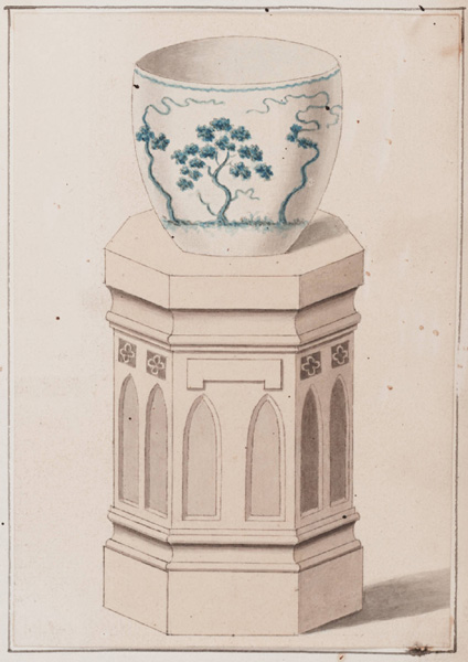 Illustration of the goldfish tub in which the cat drowned (courtesy Strawberry Hill) (click to enlarge)