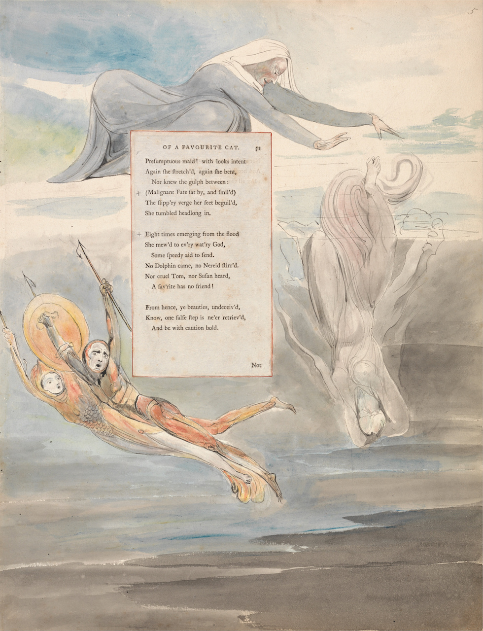 """William Blake, illustration for """"Ode on the Death of a Favourite Cat,"""" in 'The Poems of Thomas Gray (1797-98), watercolor with pen and black ink and graphite on paper with inlaid letterpress page (courtesy Yale Center for British Art, Paul Mellon Collection/Wikimedia)"""
