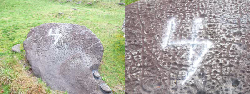 Vandalism to Judaculla Rock in North Carolina (images courtesy the Jackson County Sheriff's Office)