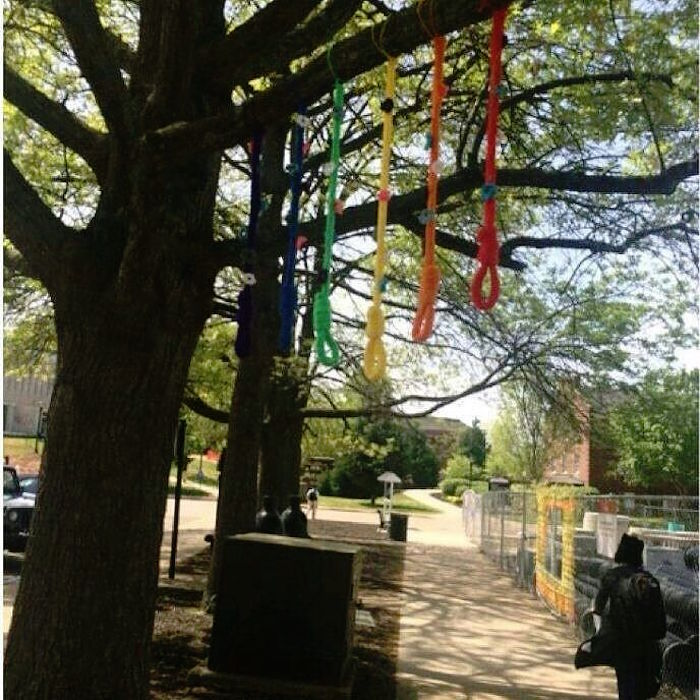 Controversial noose art on the Austin Peay State University campus (photo by @naacp.apsu/Instagram)