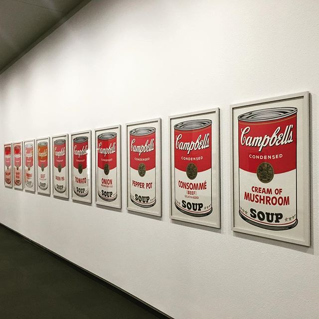 """Andy Warhol's """"Campbell's Soup Cans"""" prints, pictured before seven of them were stolen, at the Springfield Museum of Art (photo by @cinderele/Instagram)"""