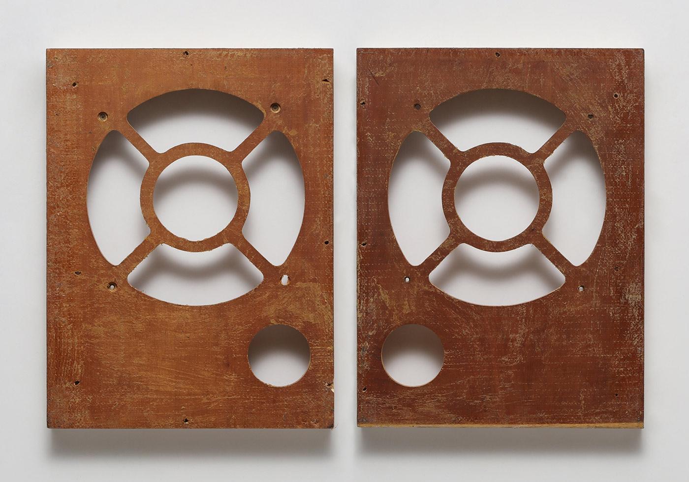 "Gabriel de la Mora, ""T-23 (a-b)"" (2016), discarded vintage stereo speaker cases (courtesy the artist)"