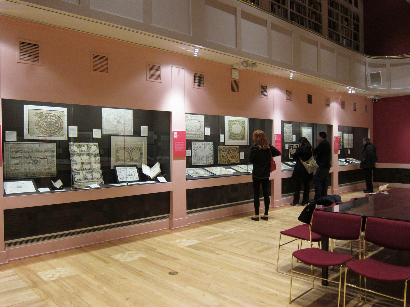 Installation view of 'The Royal Game of the Goose' at the Grolier Club