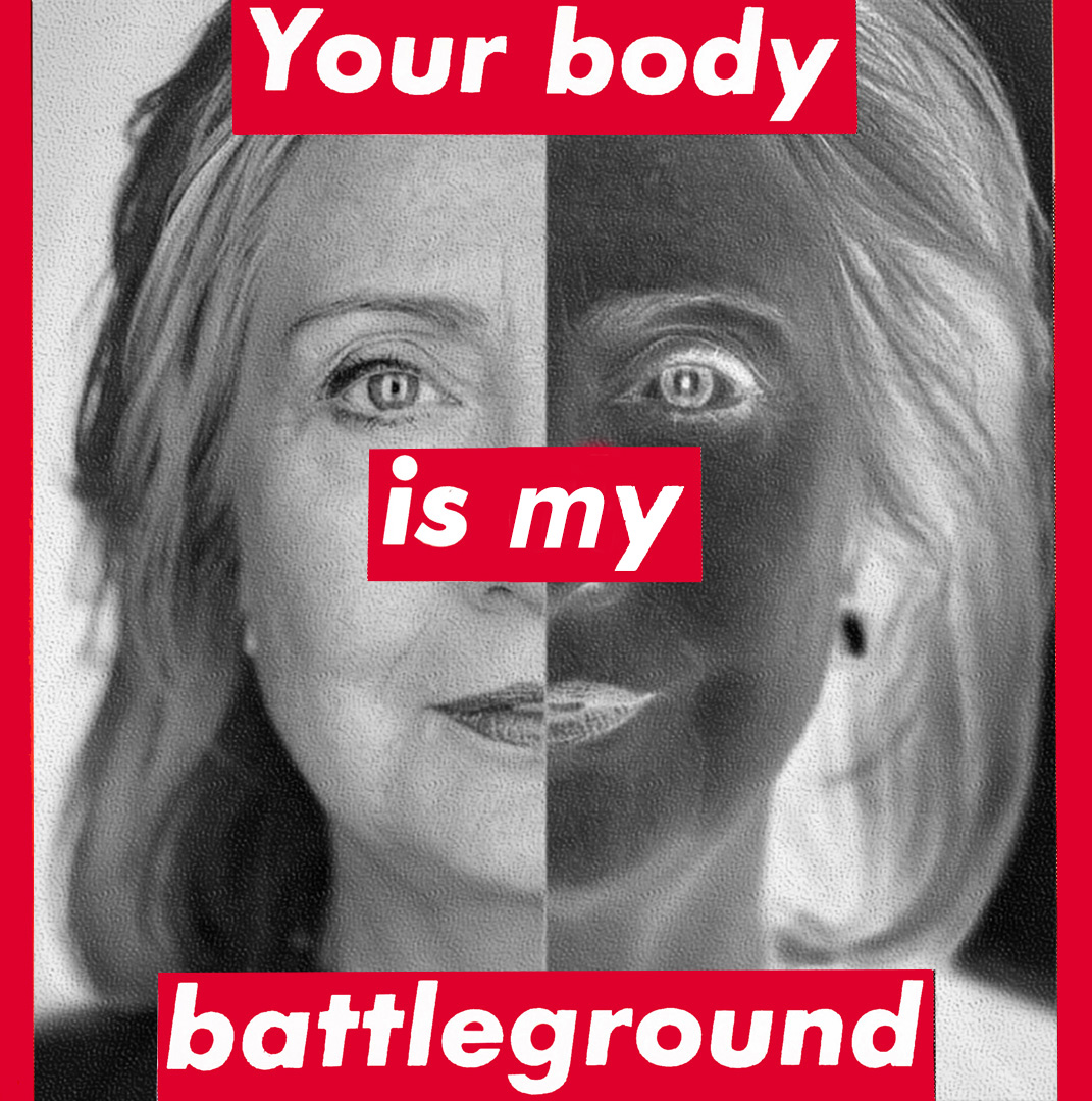 A work by Barbara Kruger for the Clinton campaign, part of the NEA's new Artists in Front program