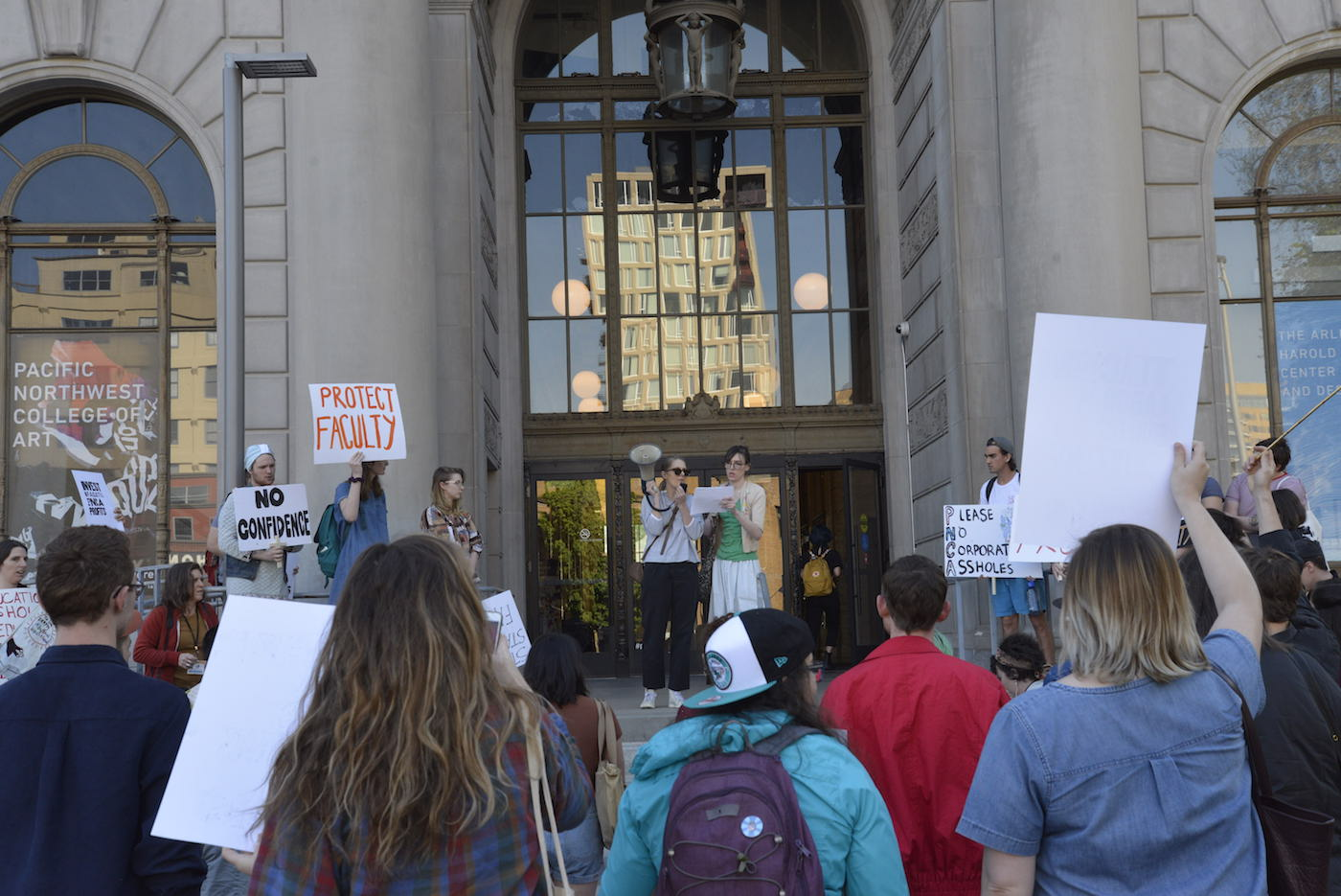 Students and faculty protesting at the main entrance to Pacific Northwest College of Art in Portland, Oregon (all photos by and courtesy Christine Taylor)