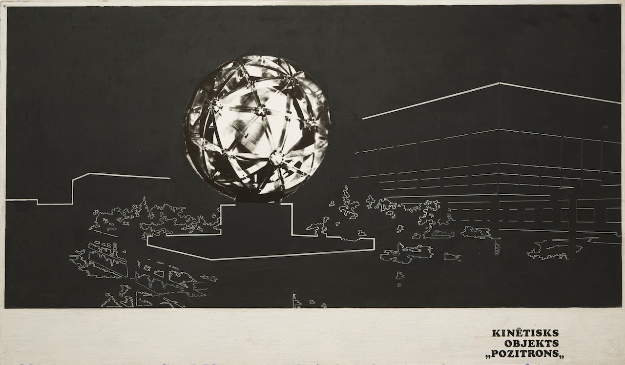 """Valdis Celms, """"View of Positron"""" (1977), ink and collaged photograph mounted on fiberboard (courtesy Zimmerli Art Museum, Norton and Nancy Dodge Collection of Nonconformist Art from the Soviet Union, © 2016 Artists Rights Society (ARS), New York / AKKA-LAA, Latvia, photo by Peter Jacobs)"""