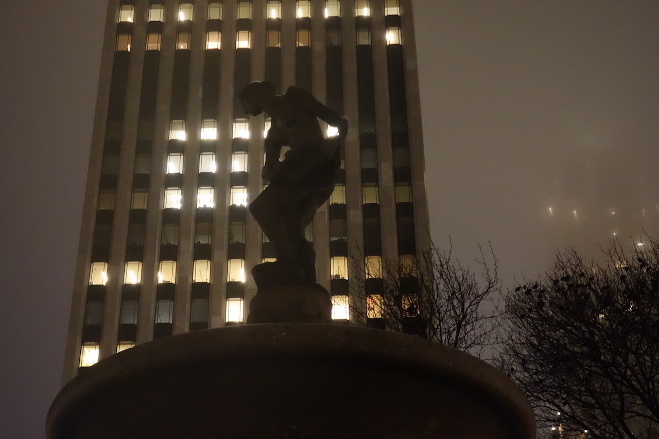 The Pulitzer Fountain in Manhattan's Grand Army Plaza, with a sculpture started by Karl Bitter based on model Doris Doscher, then later completed by Karl Gruppe and Isidore Konti after Bitter's death, with modeling by Audrey Munson