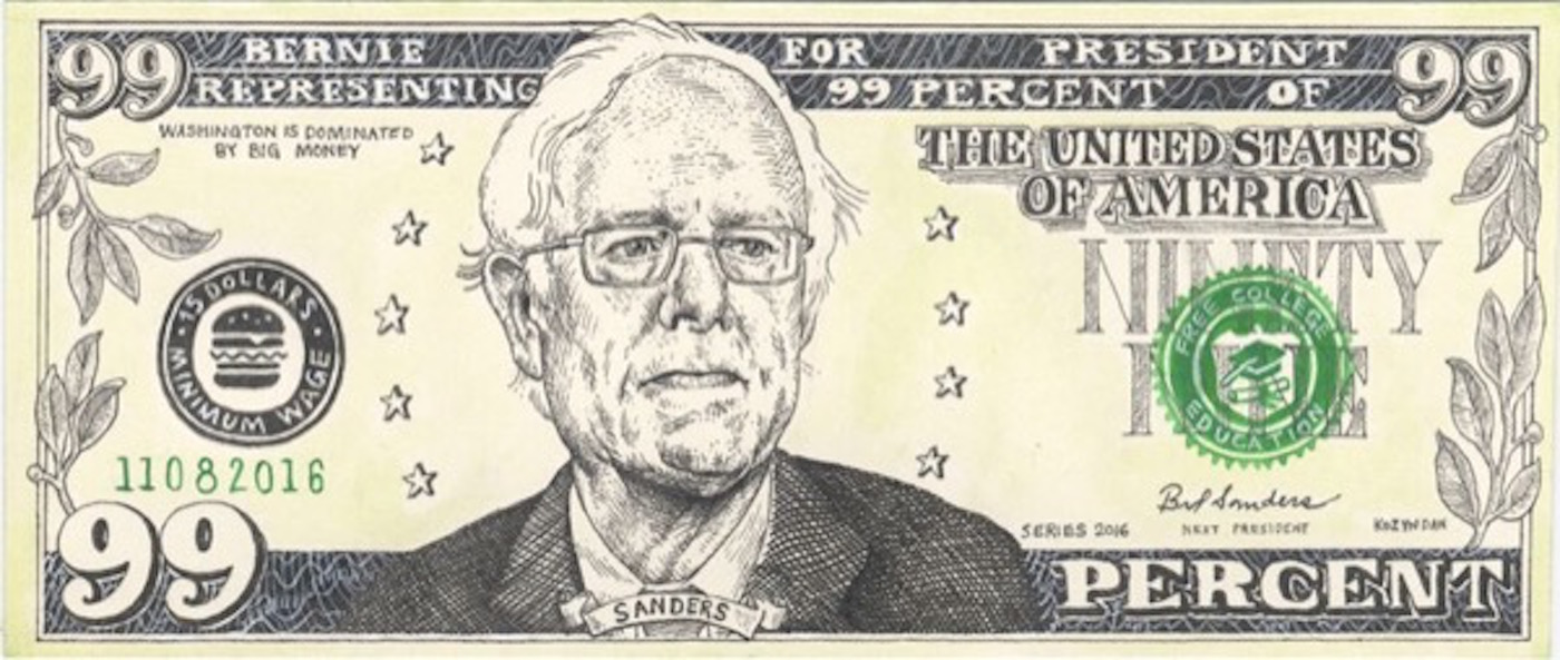 "Kozyndan ""Bernie Bucks"" (2016) (image courtesy of Bernie 2016)"