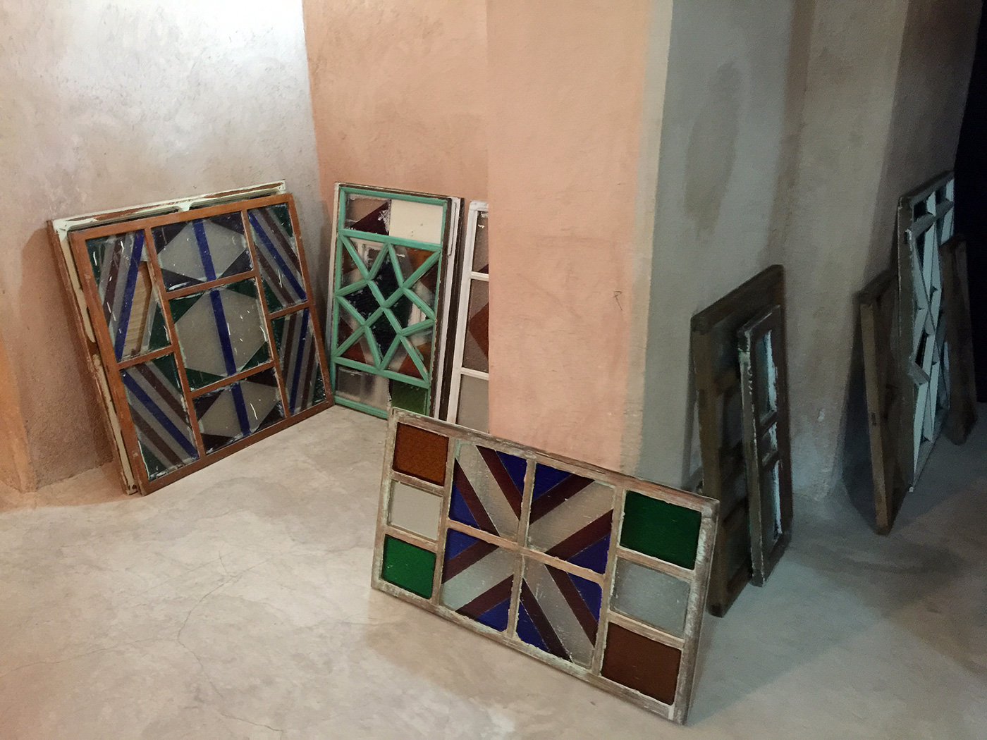 Vintage windows from Mecca make up this installation by Ahmed Mater in the vaults of El Badii Palace.