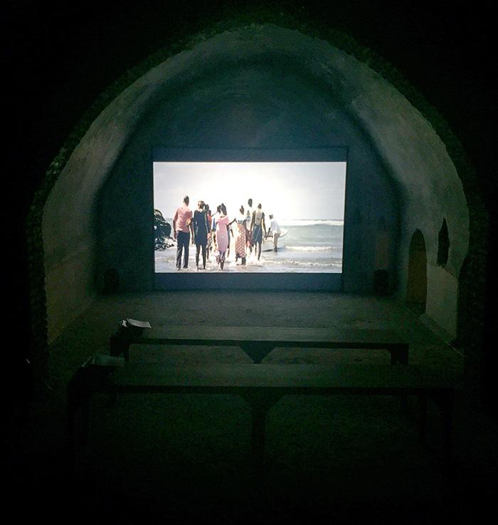 "A view of Superflex's ""Kwassa Kwassa"" (2015) in Les Cisternes de la Koutoubia in Marrakech."