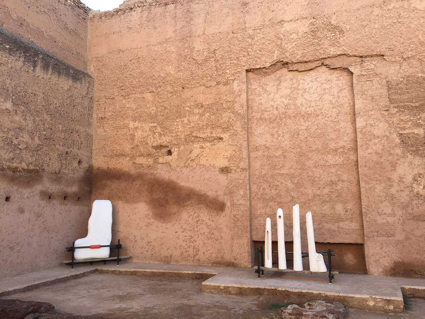 Sculptures by Jumana Manna riff off the forms in El Badii Palace, where they are installed.