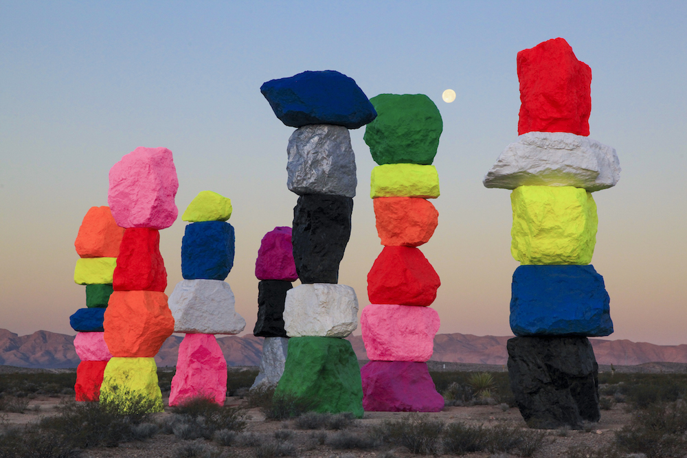 "A site specific work by Swiss artist Ugo Rondinone. Titled ""Seven Magic Mountains,"" it was produced by Art Production Fund, New York, and the Nevada Museum of Art in Reno. The monumental land art will be on view for two years beginning in May of 2016. (via Colossal)"