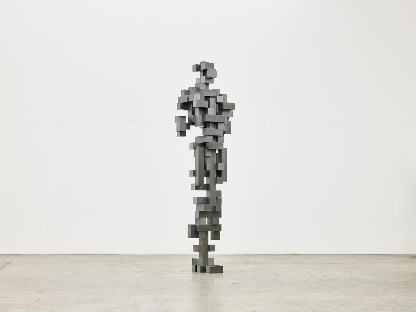 "Installation view ofAntony Gormley's Construct at Sean Kelly Gallery, ""Big Pluck (2016). All Photographs : Jason Wyche, courtesy: Sean Kelly, New York"