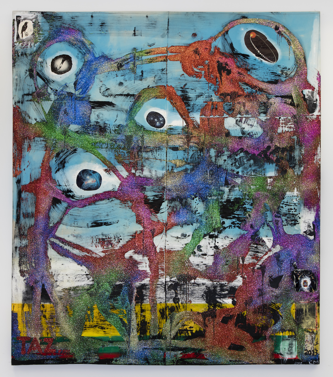 Chris Martin TAZ (orbits), 2012 acrylic, collage, glitter and oil on canvas 135 1/8 x 117 3/4 x 2 3/4 inches