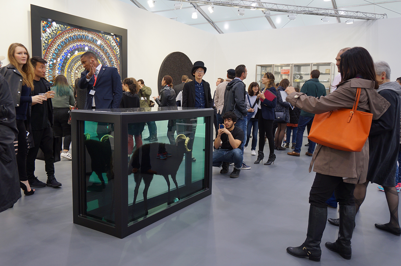 Gagosian Gallery's booth filled with Damien Hirst works