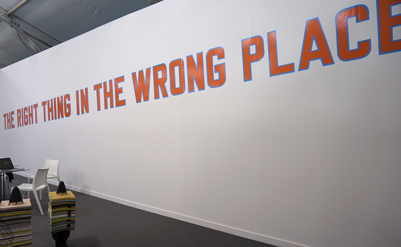 "Lawrence Weiner, ""THE RIGHT THING IN THE WRONG PLACE"" (2016) at Alfonso Artiaco"