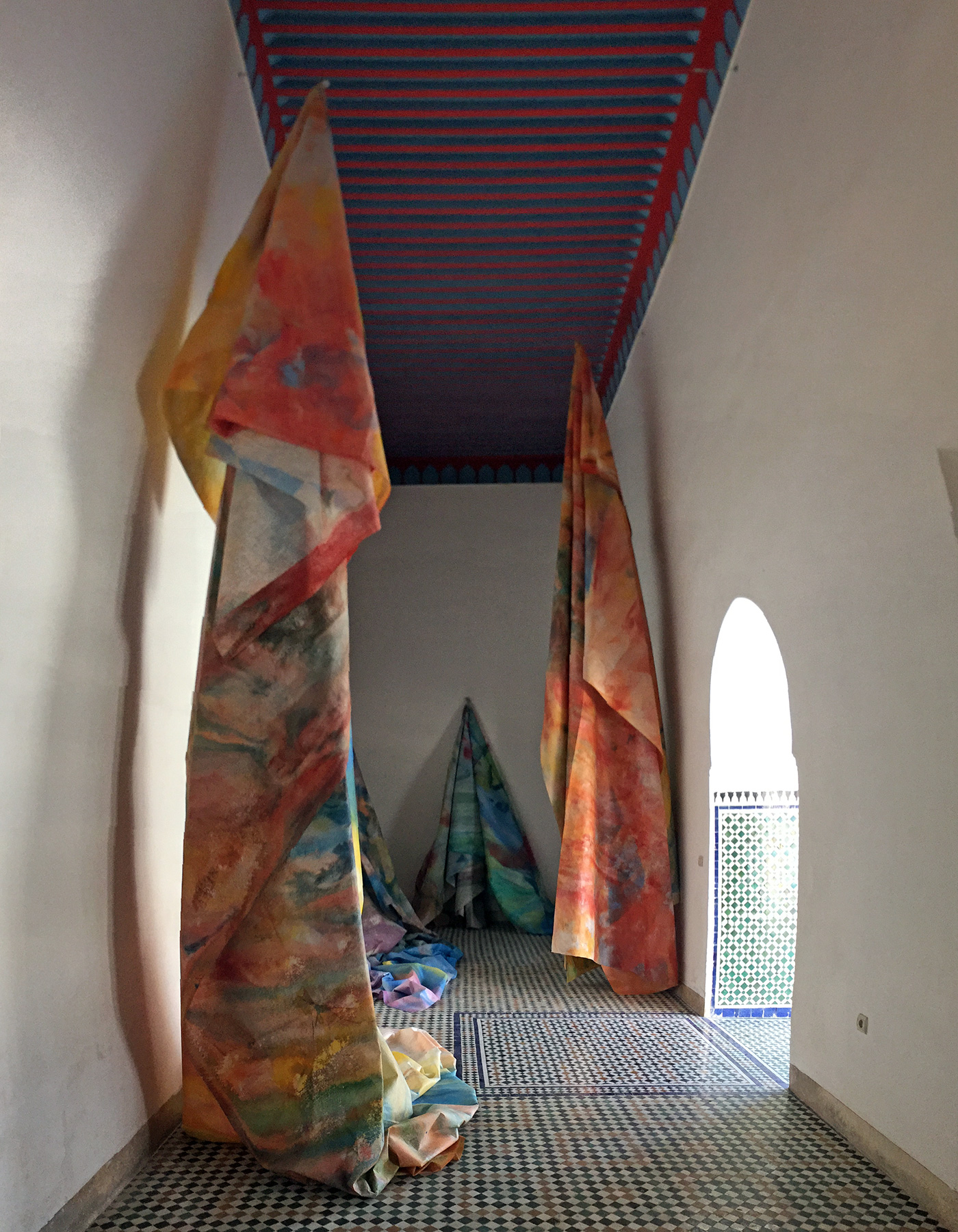 Sam Gilliam's installation at Bahia Palace in Marrakech. (all photos by the author for Hyperallergic)
