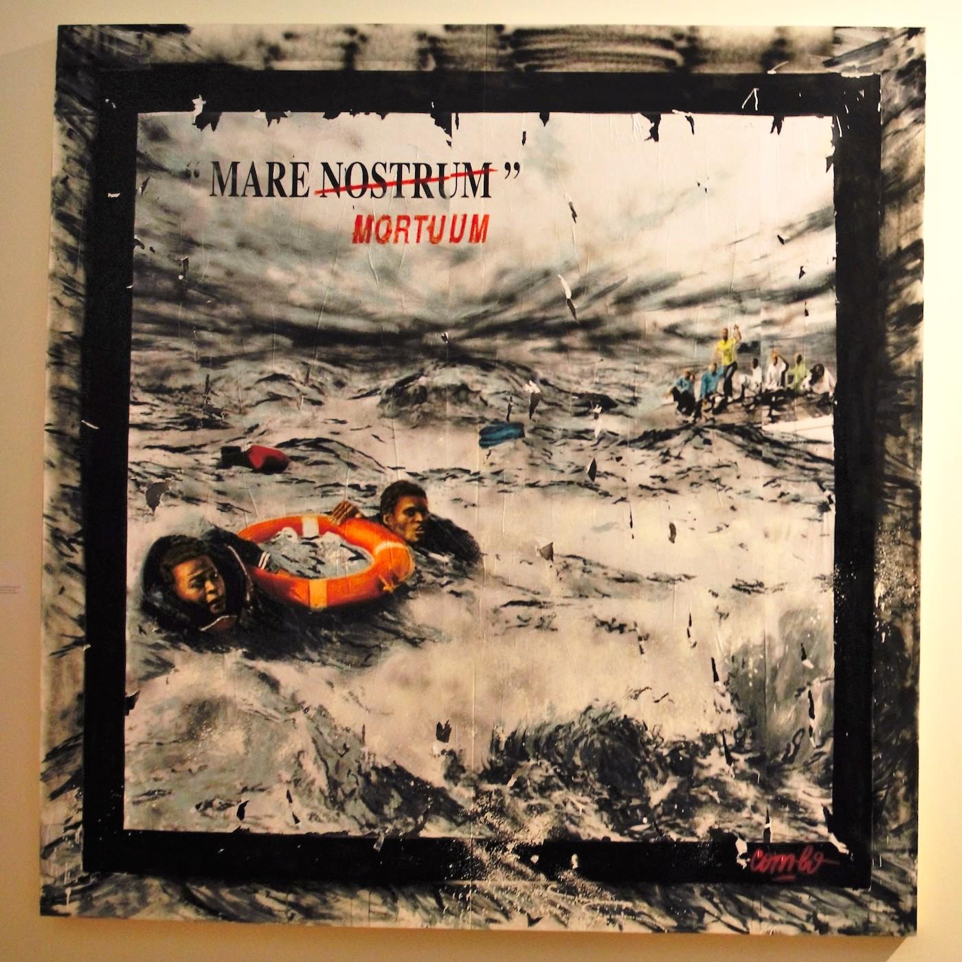 """Quai 36, """"Mare Nostrum Mortuum"""" (2015) (photo by the author for Hyperallergic)"""
