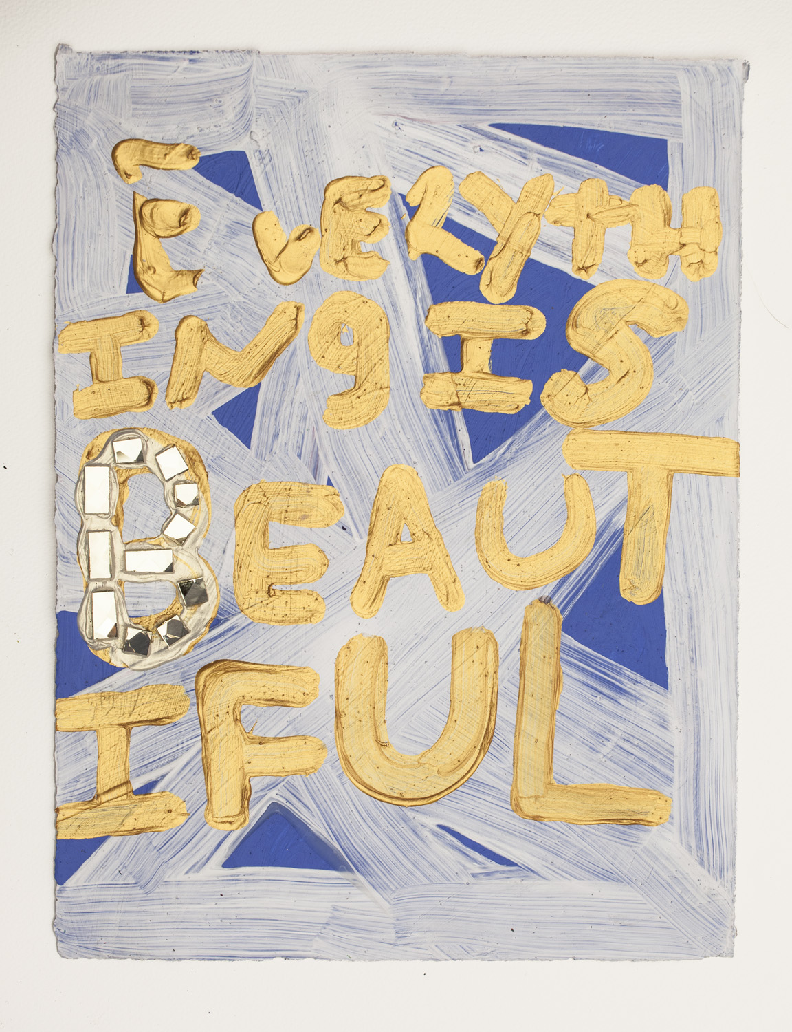 """Samuel Jablon, """"Everything is Beautiful"""" (2015), acrylic and glass tile on paper, 15 x 11 in"""