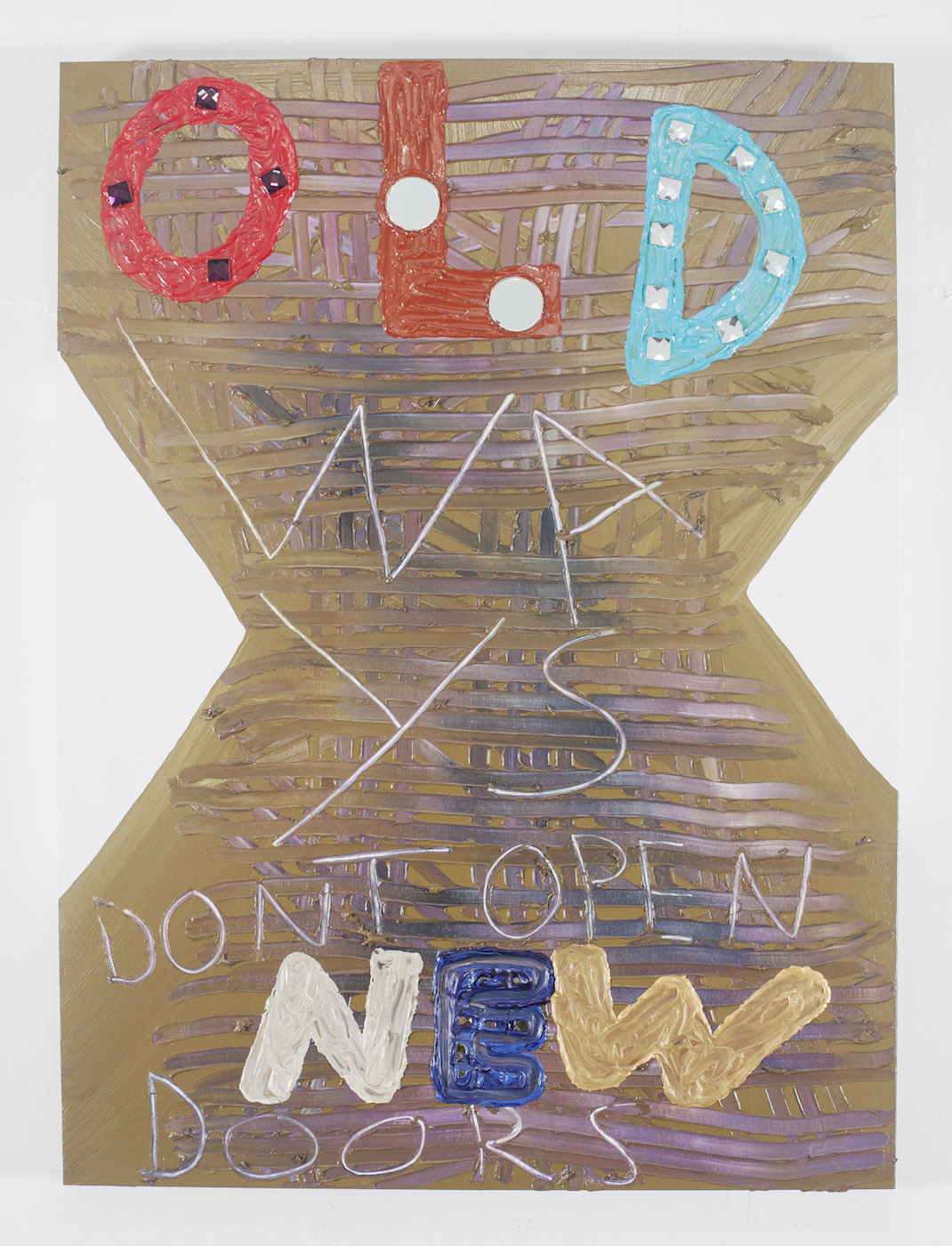 """Samuel Jablon, """"Old Ways"""" (2015), acrylic, mirror, and glass tile on wood panel, 40 x 30 in"""