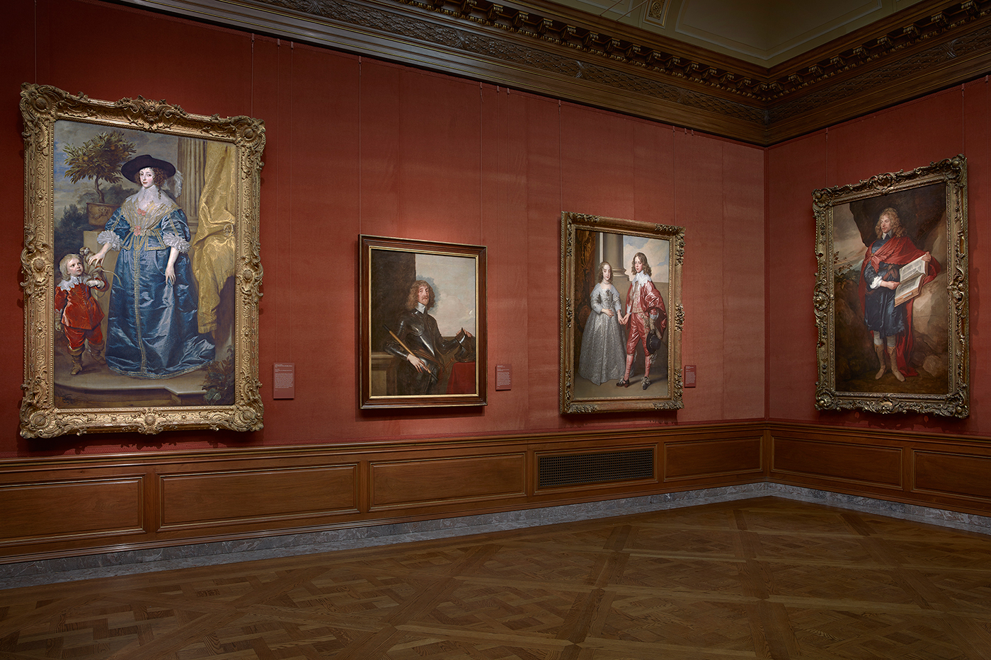 Installation view, works in the East Gallery in 'Van Dyck: The Anatomy of Portraiture' at the Frick Collection (photo by Michael Bodycomb) (click to enlarge)
