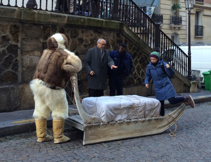 The Inuit sled on the streets of Paris (courtesy the filmmakers)