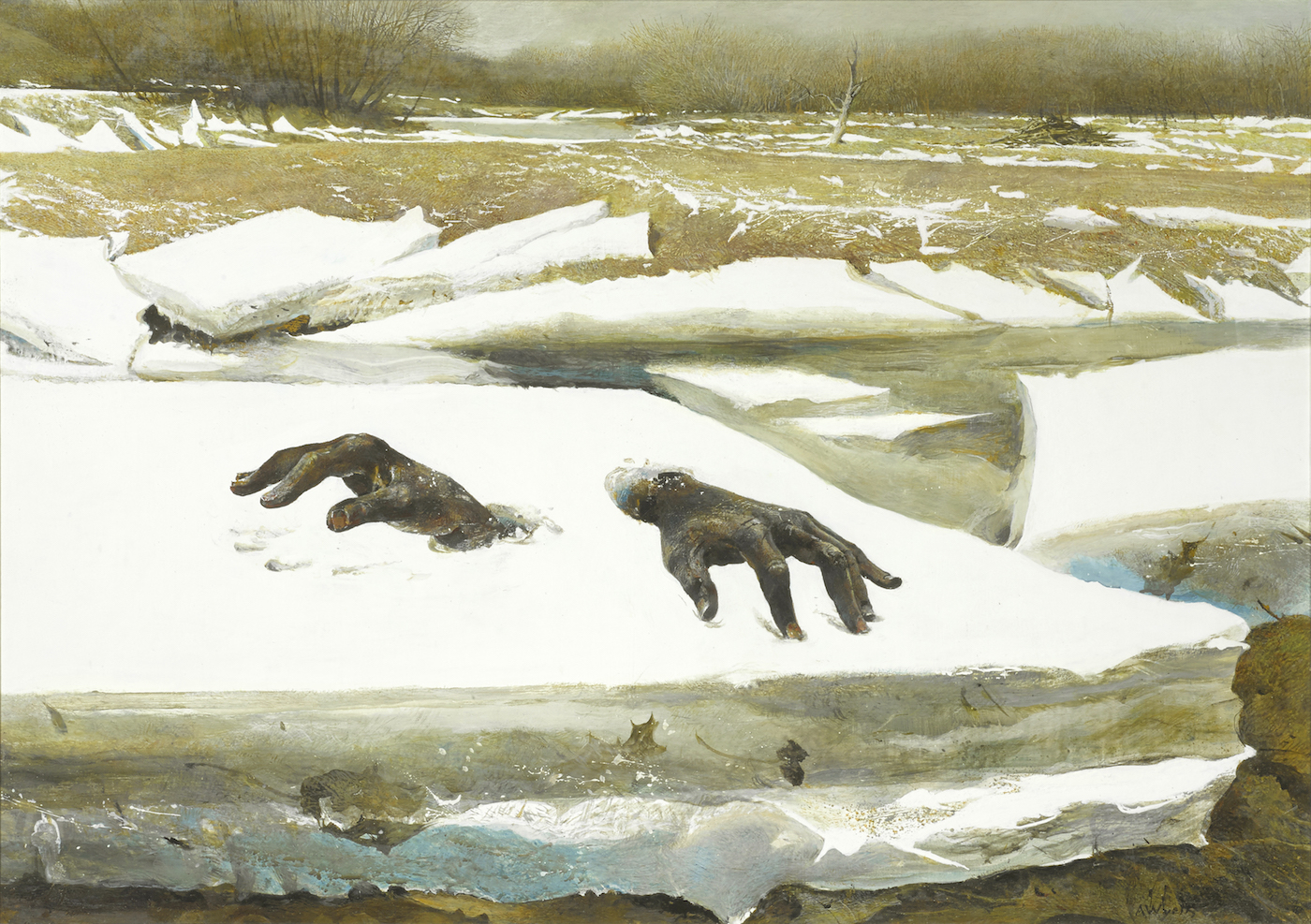 "Andrew Wyeth, ""Breakup"" (1994), tempera on panel, 20 x 28 inches (courtesy Bonhams)"