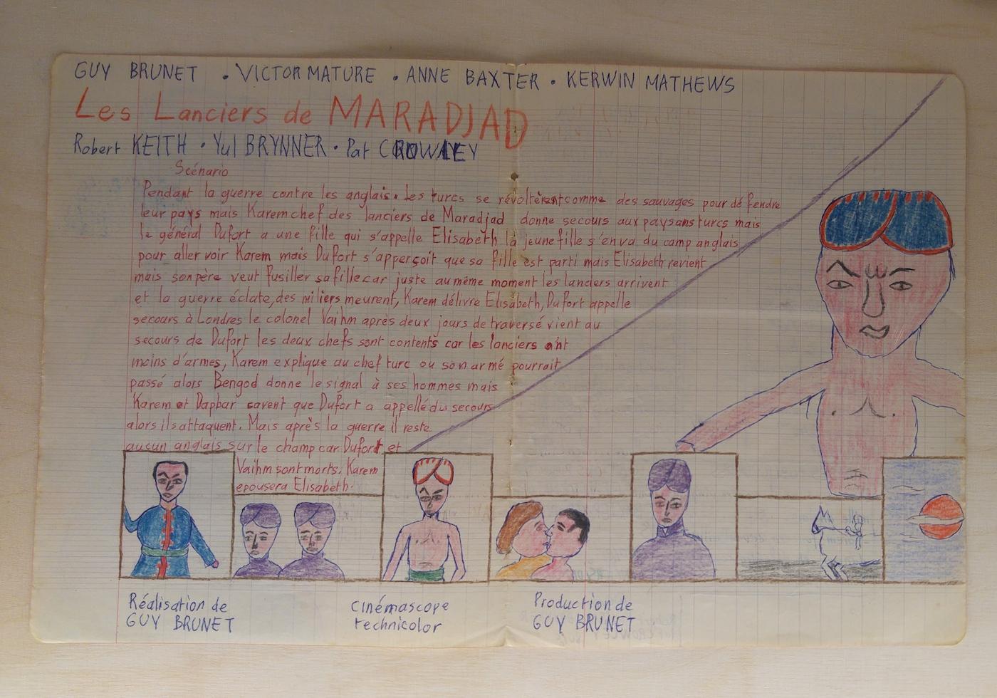 One of Guy Brunet's screenplays, written in a school notebook