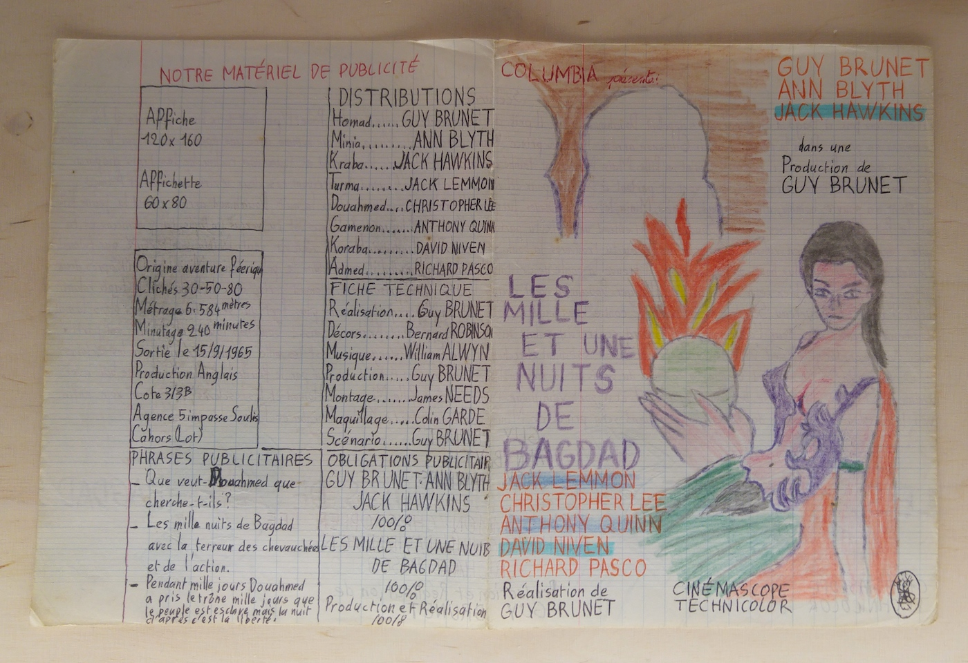 One of Guy Brunet's hand-drawn film posters, created in a school notebook