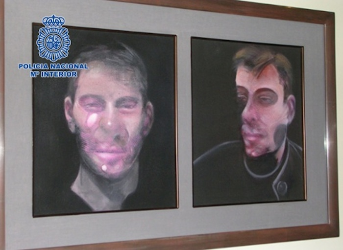 Two of the Francis Bacon paintings stolen last year from a home in Madrid (photo courtesy Policía Nacional)