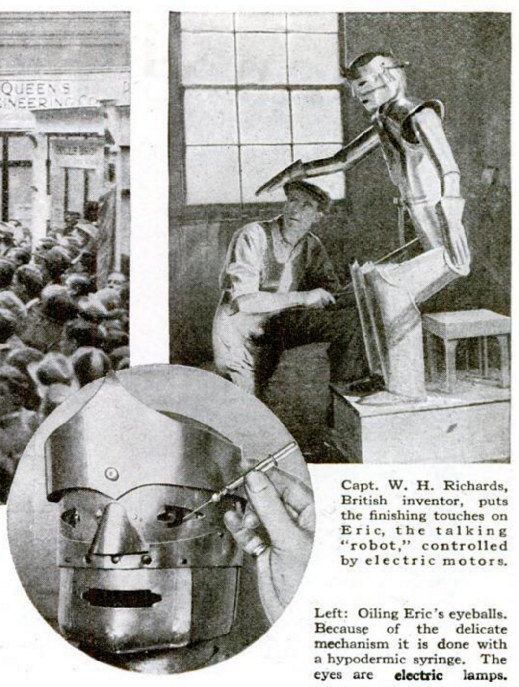Captain Richards working on Eric, pictured in Popular Science Monthly (1928) (screenshot by the author via Google Books)