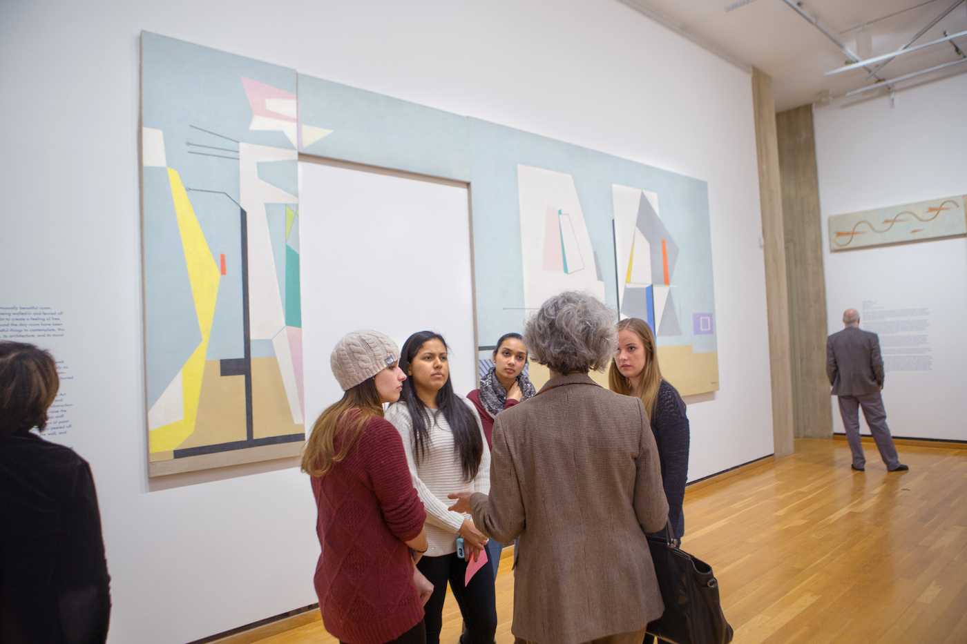 """Installation view of Ilya Bolotowsky's """"Abstraction"""" at the Johnson Museum in 'Revealed: WPA Murals from Roosevelt Island' (photo by Robert Barker, Cornell University)"""