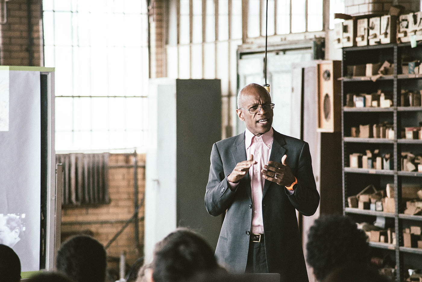 Maurice Cox, Detroit's urban planner, presents new developments to ICD fellows at Herman Kiefer (photo by Justin Millhouse)