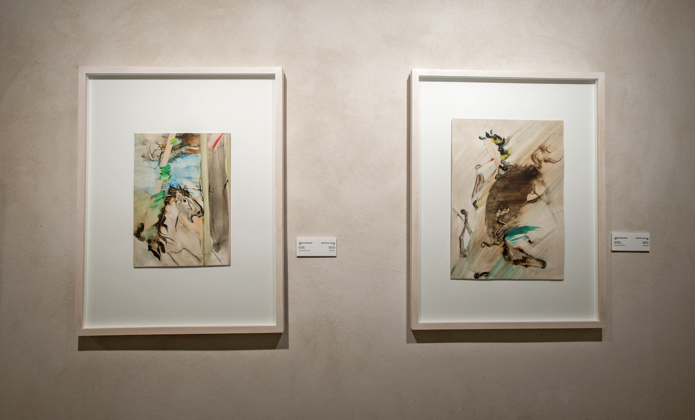 Farideh Lashai, works from the 'Horses' series (1989), oil on paper (courtesy of the estate of the artist, image courtesy of Sharjah Art Foundation)