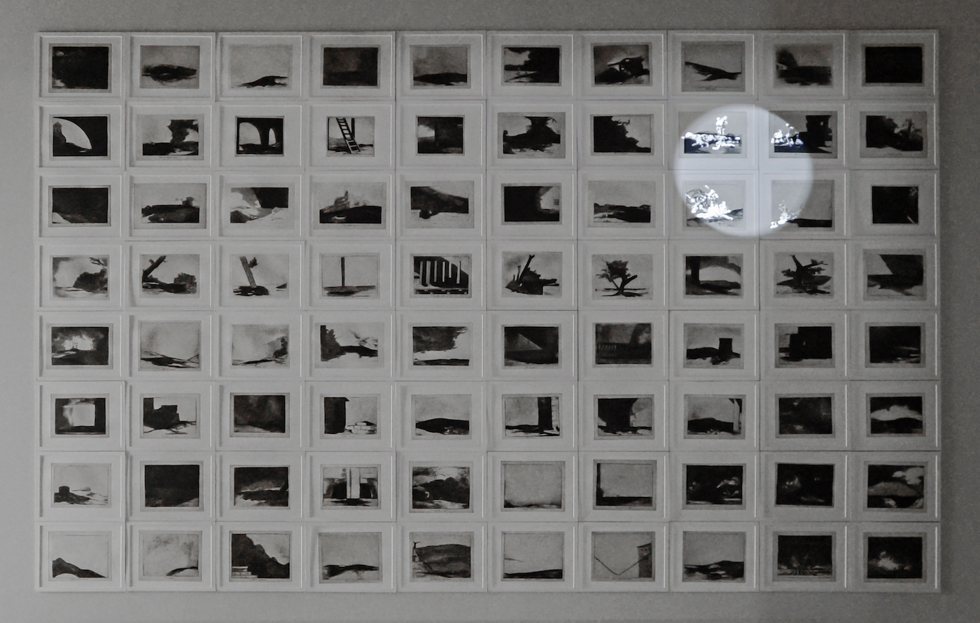 """Farideh Lashai, """"When I Count, There Are Only You ... But When I Look, There Is Only a Shadow"""" (2012–13), suite of 80 photo-intaglio prints with projection of animated images, 3:46, Sharjah Art Foundation Collection (courtesy of the estate of the artist, image courtesy of Sharjah Art Foundation)"""