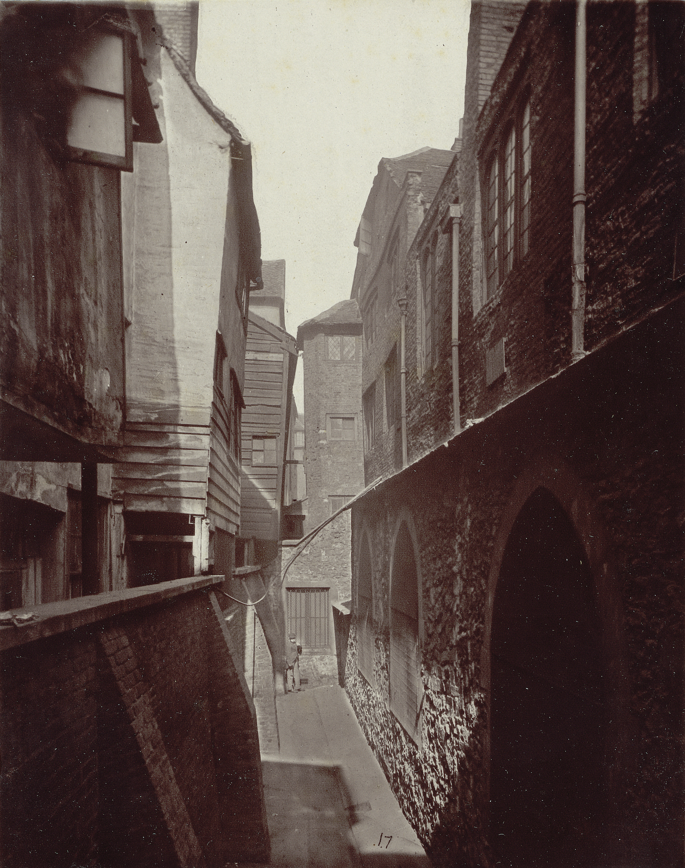 """Alfred and John Bool, no. 17, """"St. Bartholomew the Great and Cloth Fair"""" (1877), carbon print mounted on card, from 'Relics of Old London' (Society for Photographing Relics of Old London, 1875–1886, courtesy Yale Center for British Art, Paul Mellon Collection)"""